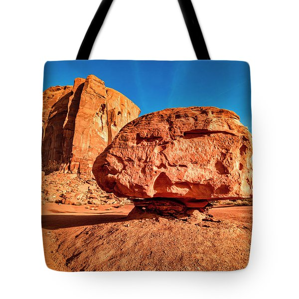 Tote Bag featuring the photograph Spearhead Mesa's Balancing Rock by Andy Crawford