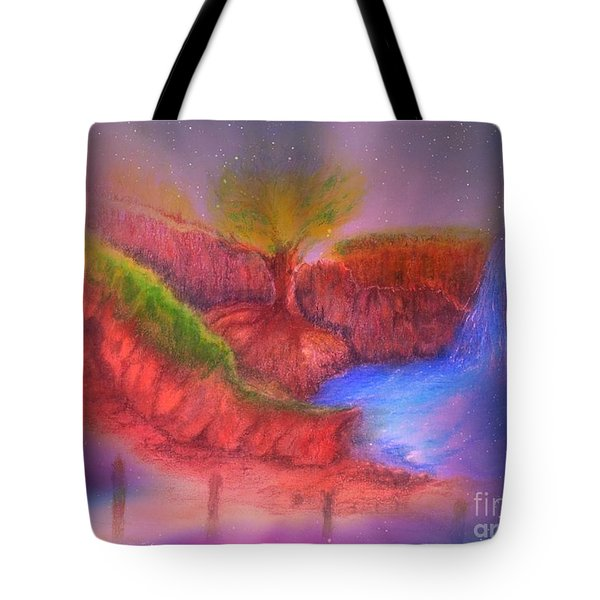 Tote Bag featuring the mixed media Spec In The Galaxy by Sabine ShintaraRose