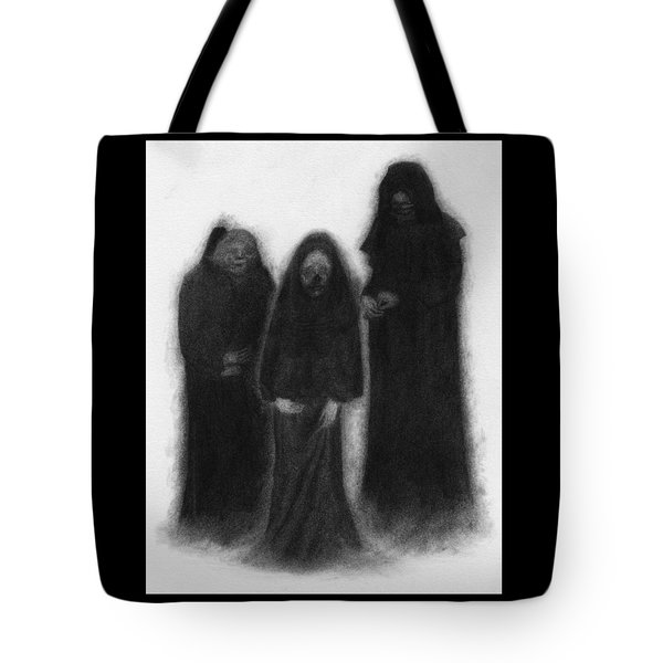 Tote Bag featuring the drawing Specters Of The Darkness Beneath - Artwork by Ryan Nieves