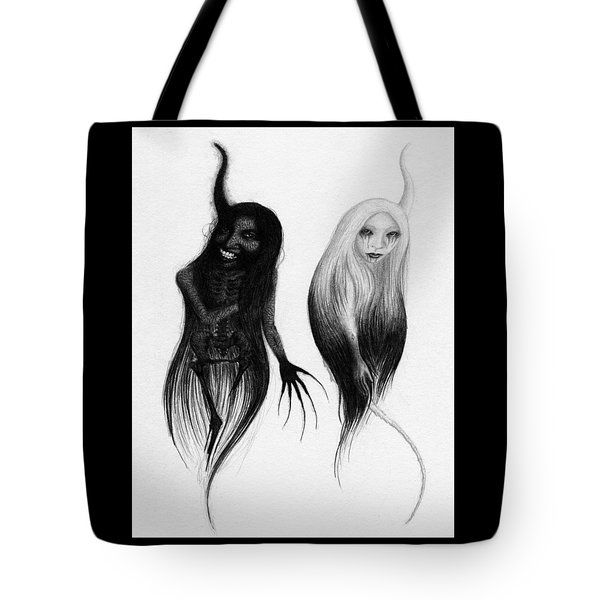 Tote Bag featuring the drawing Spirits Of The Twin Sisters - Artwork by Ryan Nieves