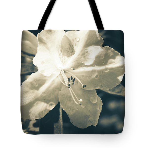 Split Tone White Rhododendron Tote Bag