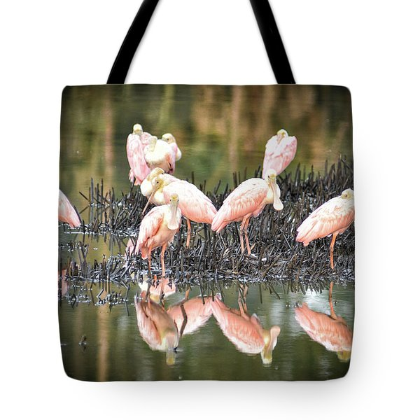 Spoonbill Reflection Tote Bag