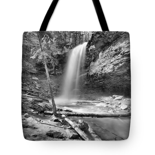 Spring At Troll Falls Black And White Tote Bag
