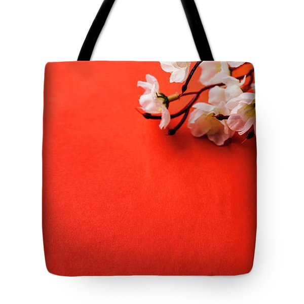 Spring Blossom Border Over Red Background With Copyspace. Chines Tote Bag