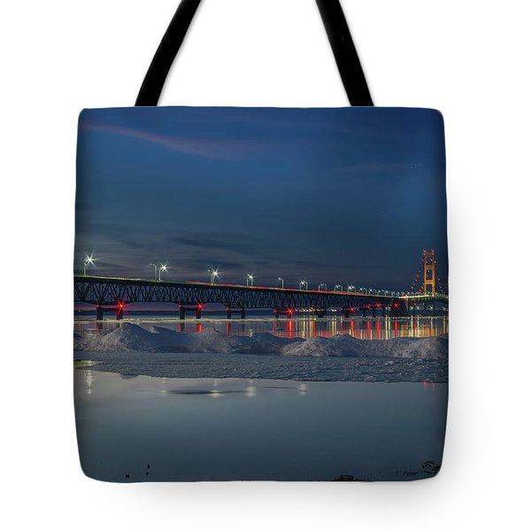 Spring Evening At The Mackinac Bridge Tote Bag