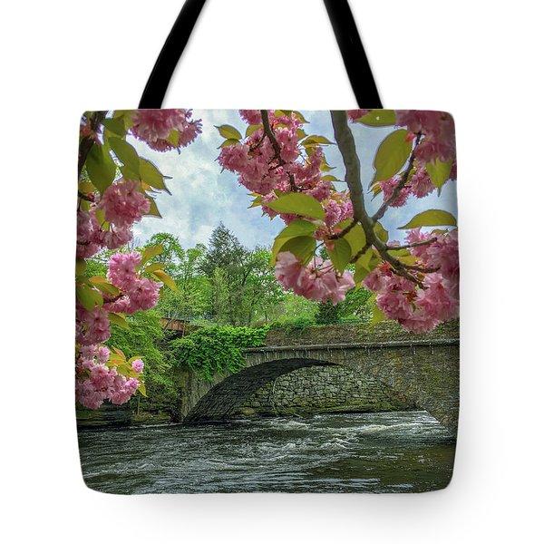 Spring Garden On The Bridge  Tote Bag
