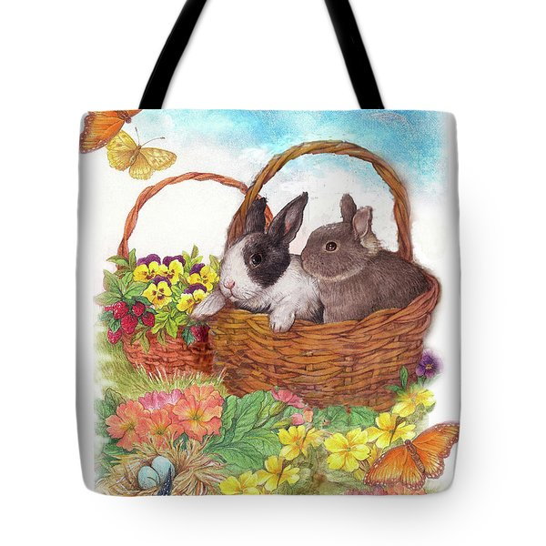 Spring Garden With Bunnies, Butterfly Tote Bag