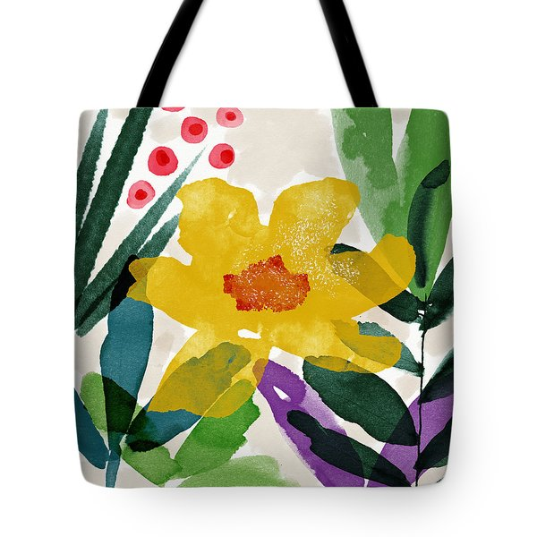 Spring Garden Yellow- Floral Art By Linda Woods Tote Bag