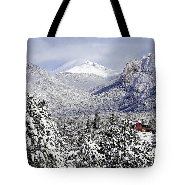 Spring Snow In Estes Park Colorado Tote Bag
