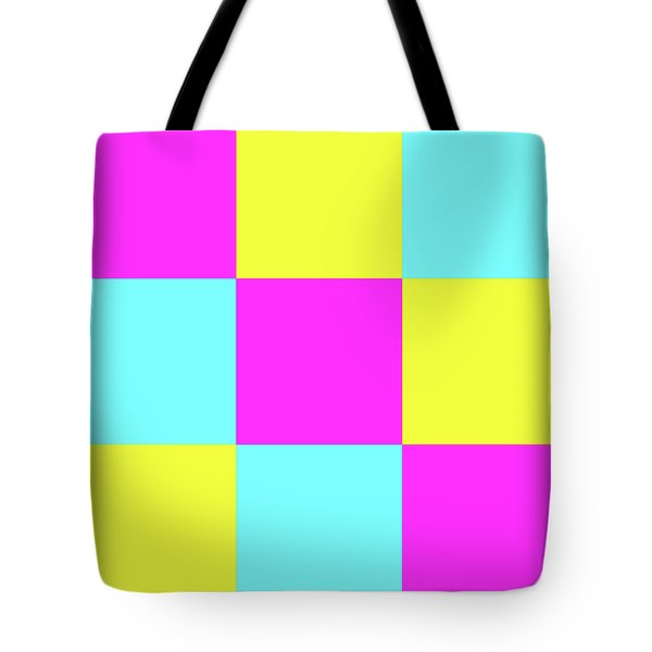 Tote Bag featuring the photograph Squares Of Cyan And Yellow And Magenta by Bill Swartwout Fine Art Photography