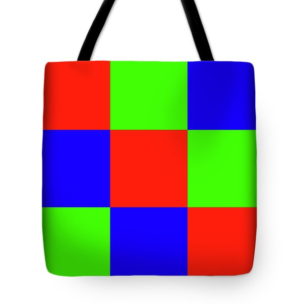 Tote Bag featuring the digital art Squares Of Red And Blue And Green by Bill Swartwout Fine Art Photography