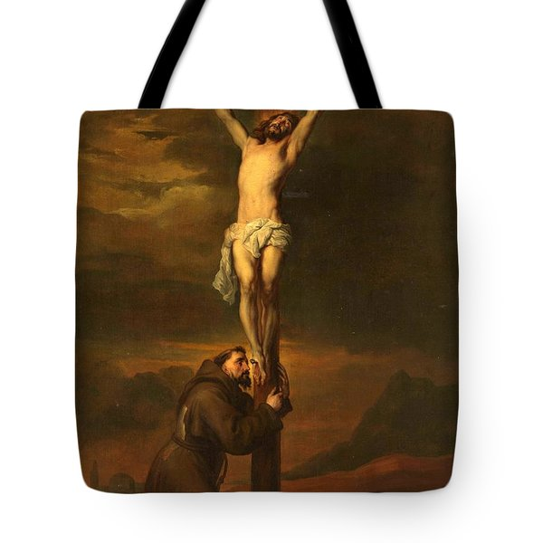 St Francis At The Foot Of The Cross Tote Bag