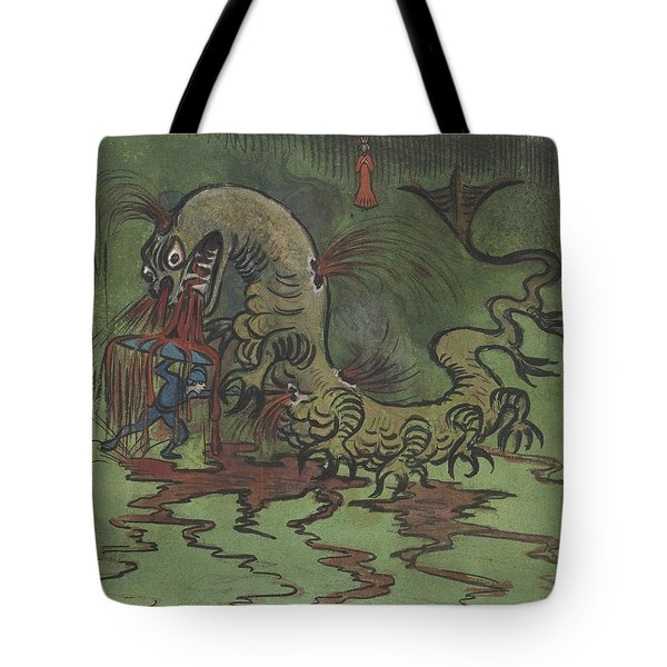 Tote Bag featuring the drawing St. Goran And The Dragon by Ivar Arosenius