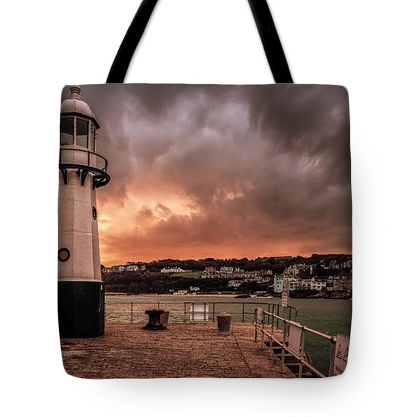 St Ives Cornwall - Lighthouse Sunset Tote Bag