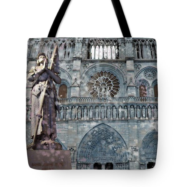 St Joan Of Arc Watch Over Notre Dame Tote Bag