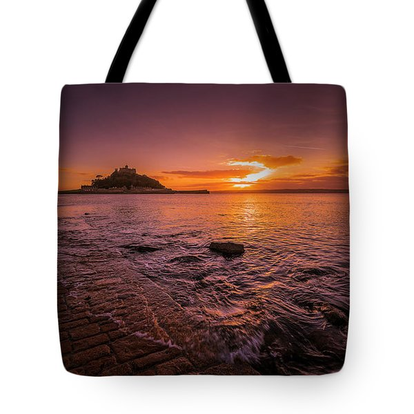 St Michael's Mount - January Sunset Tote Bag