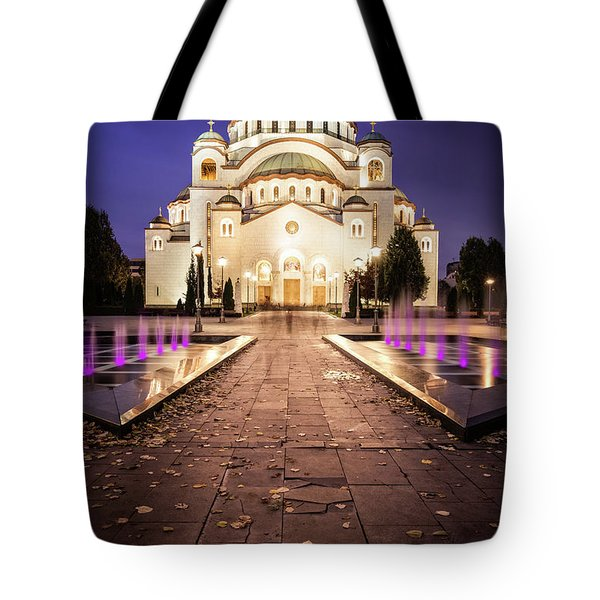 Tote Bag featuring the photograph St. Sava Temple In Belgrade Nightscape by Milan Ljubisavljevic