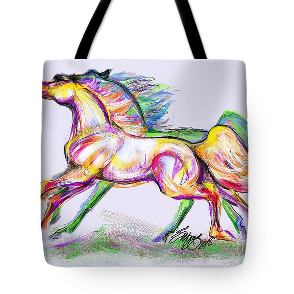 Crayon Bright Horses Tote Bag