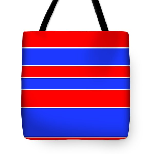 Stacked - Red, White And Blue Tote Bag