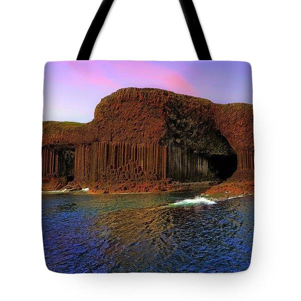 Staffa And Fingal's Cave - Scotland - Sunset Tote Bag