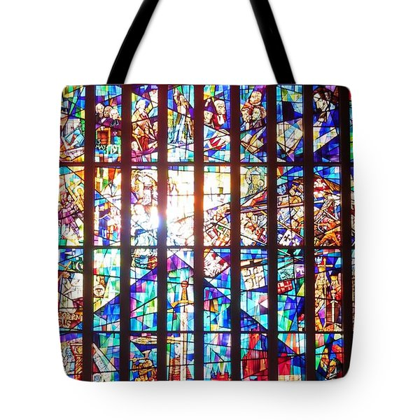Stained Glass Historical Our Lady Of Czestechowa Shrine Tote Bag