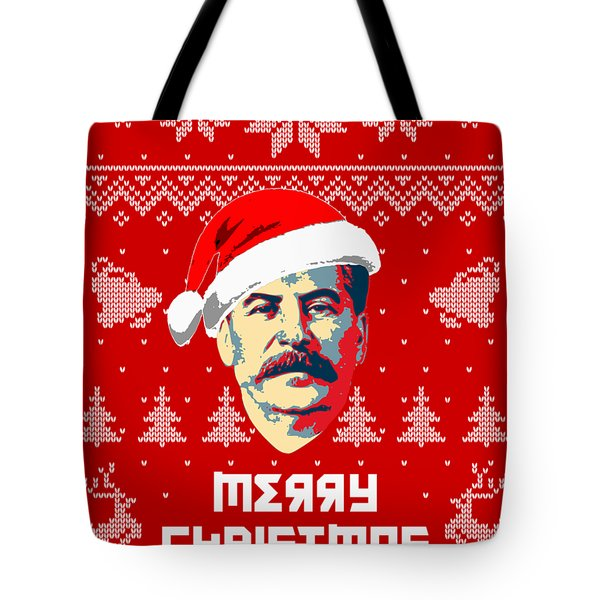 Stalin Merry Christmas Russian Letters Tote Bag