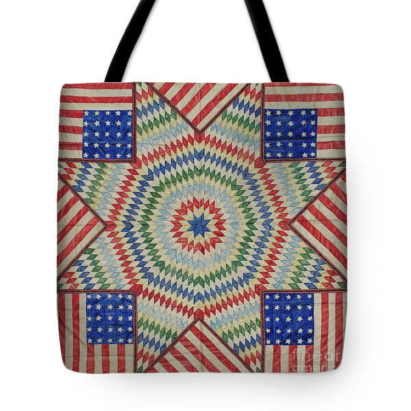 Star And Flag Quilt Design Tote Bag