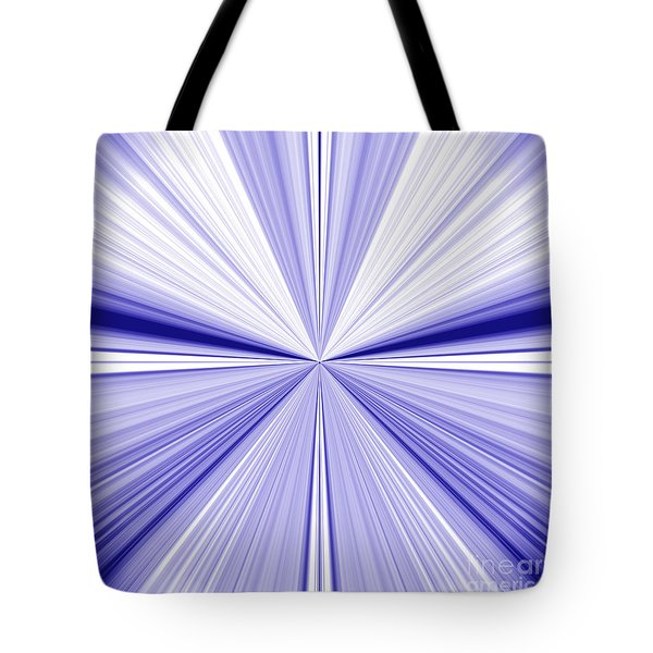 Starburst Light Beams In Blue And White Abstract Design - Plb455 Tote Bag
