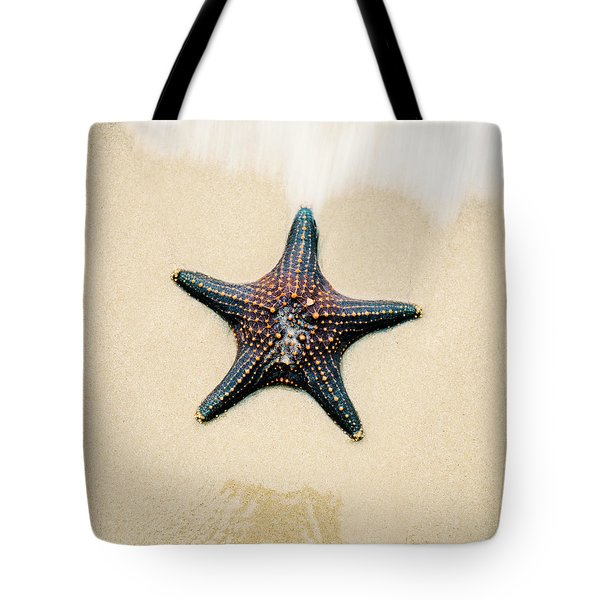 Starfish On The Beach Sand. Close Up. Tote Bag