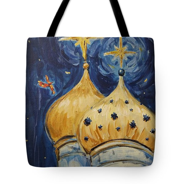 Tote Bag featuring the painting Stars Near And Far by Maria Langgle
