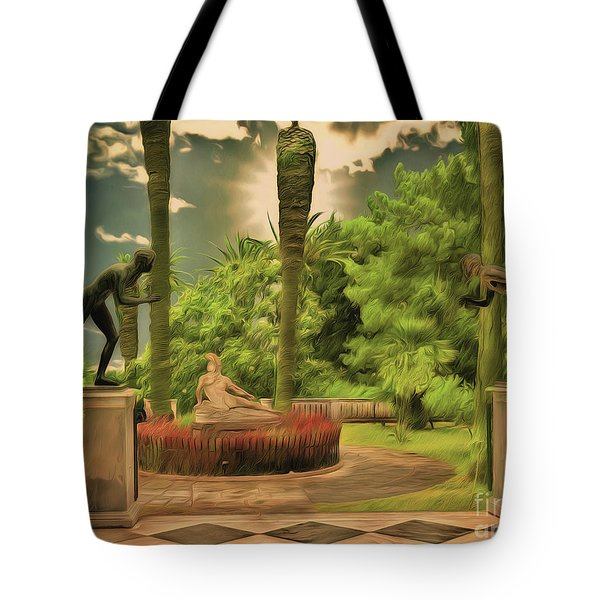 Tote Bag featuring the photograph Statues Gardens,achilleion Palace Corfu by Leigh Kemp