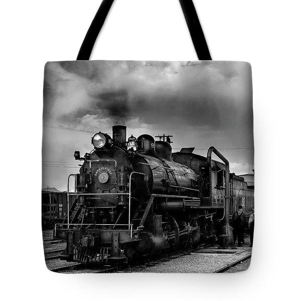 Steam Locomotive In Black And White 1 Tote Bag