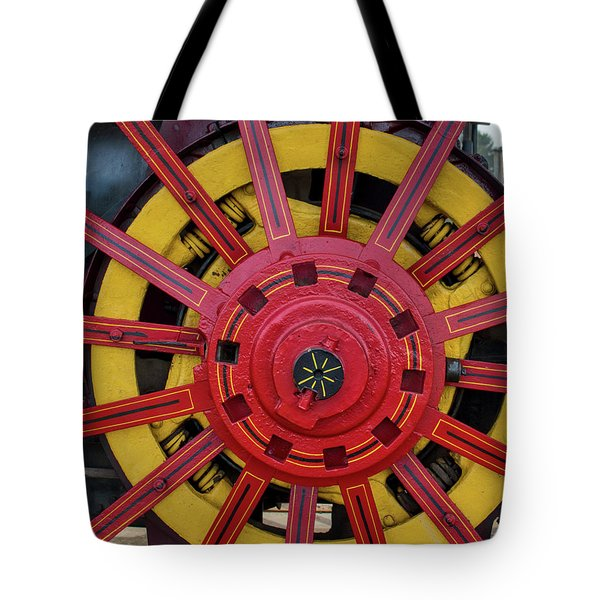 Tote Bag featuring the photograph Steele Power Wheel by Mark Dodd