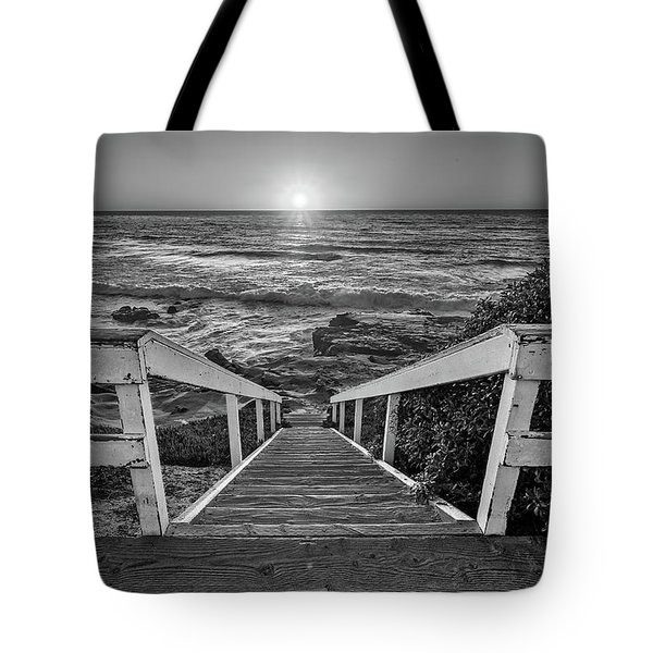 Steps To The Sun  Black And White Tote Bag
