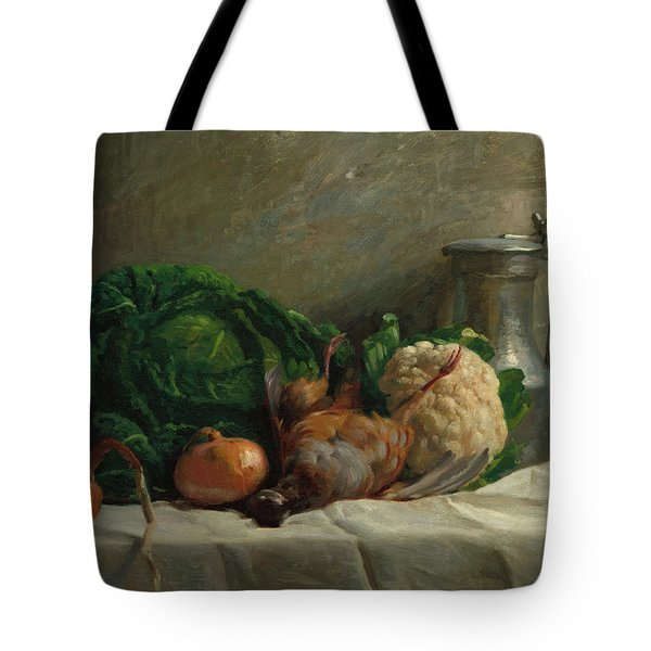 Still Life With Vegetables, Partridge, And A Jug, 1858  Tote Bag