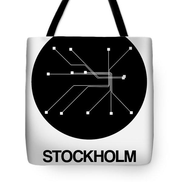 Stockholm Black Subway Map Tote Bag