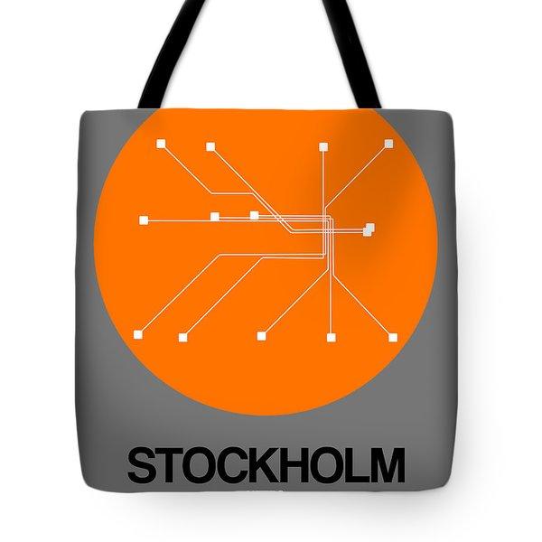 Stockholm Orange Subway Map Tote Bag