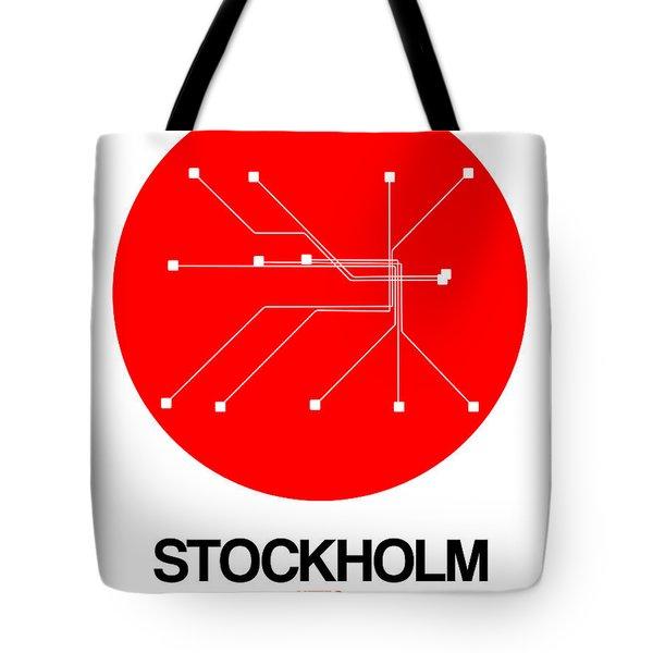 Stockholm Red Subway Map Tote Bag