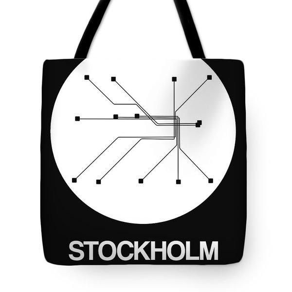 Stockholm White Subway Map Tote Bag