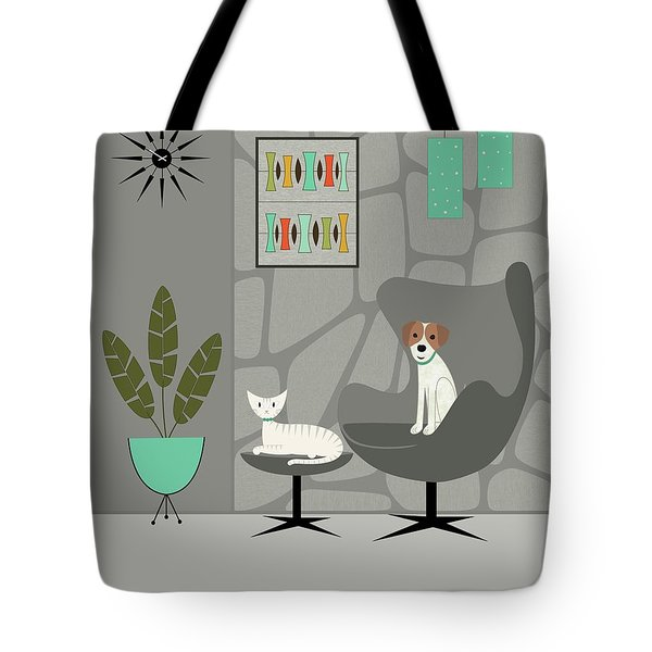 Tote Bag featuring the digital art Stone Wall With Dog And Cat by Donna Mibus