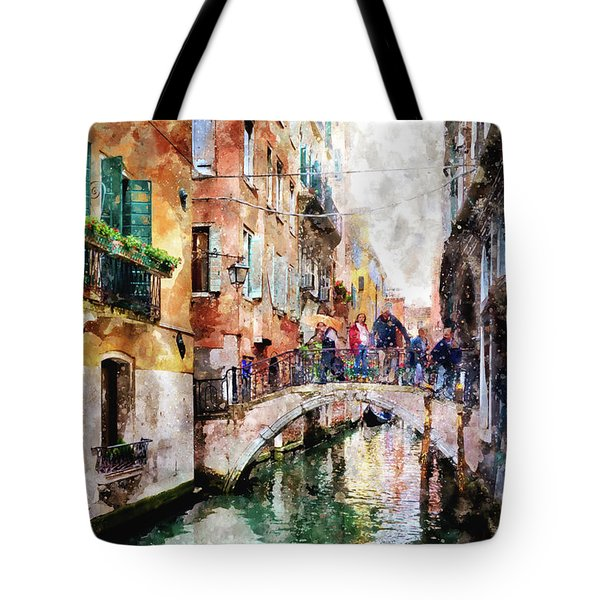 People On Bridge Over Canal In Venice, Italy - Watercolor Painting Effect Tote Bag