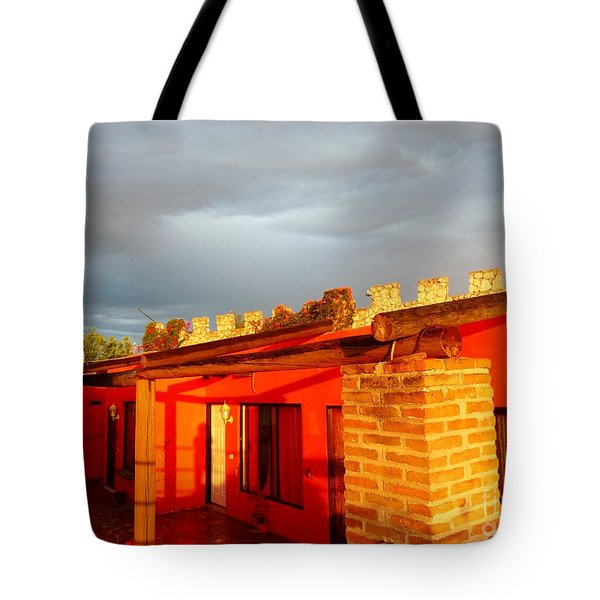 Tote Bag featuring the photograph Storm Brewing, Sun Setting by Rosanne Licciardi