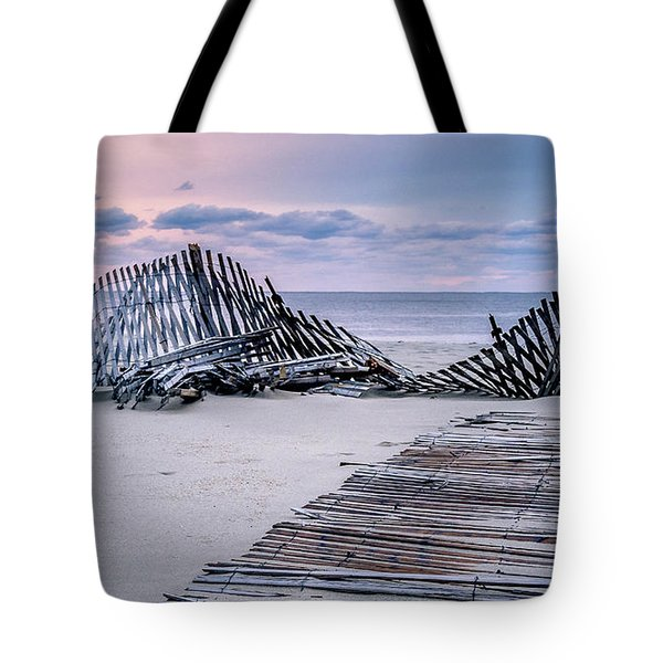 Tote Bag featuring the photograph Storm Fence Sunrise by Steve Stanger