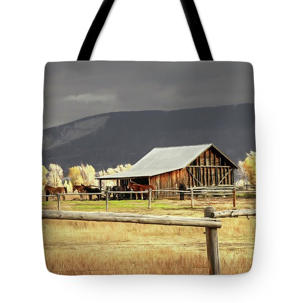 Stormy Autumn Day In Wyoming Tote Bag