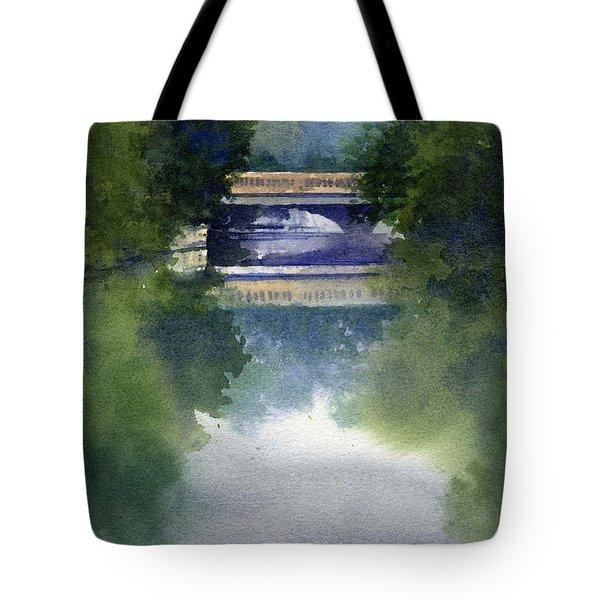 Stormy Day On Bridge Road Tote Bag