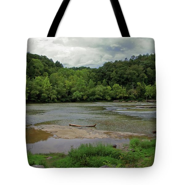 Tote Bag featuring the photograph Stormy Evening At The River by Angela Murdock