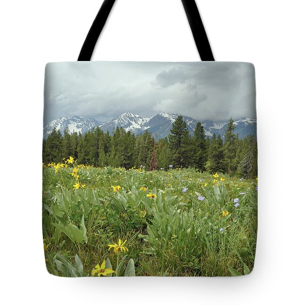 Stormy Tetons And Flowers Tote Bag