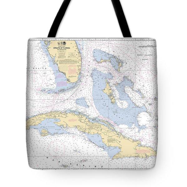 Straits Of Florida Nautical Chart 11013 Tote Bag