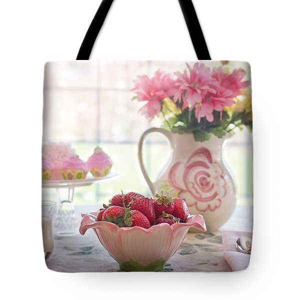 Tote Bag featuring the photograph Strawberry Breakfast by Top Wallpapers