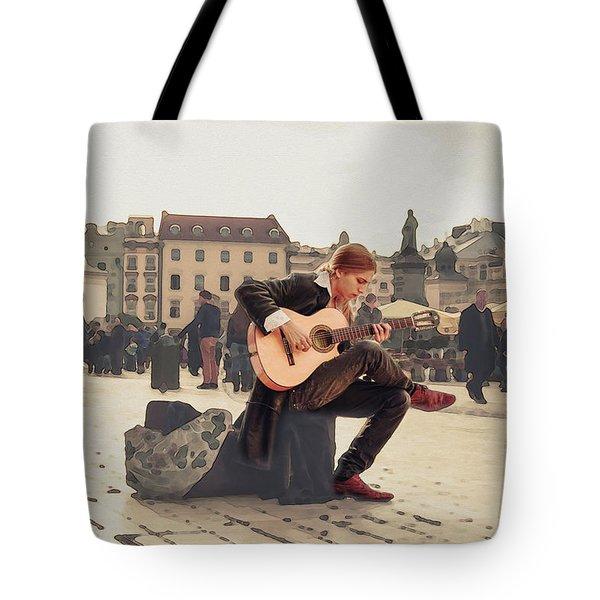 Street Music. Guitar. Tote Bag